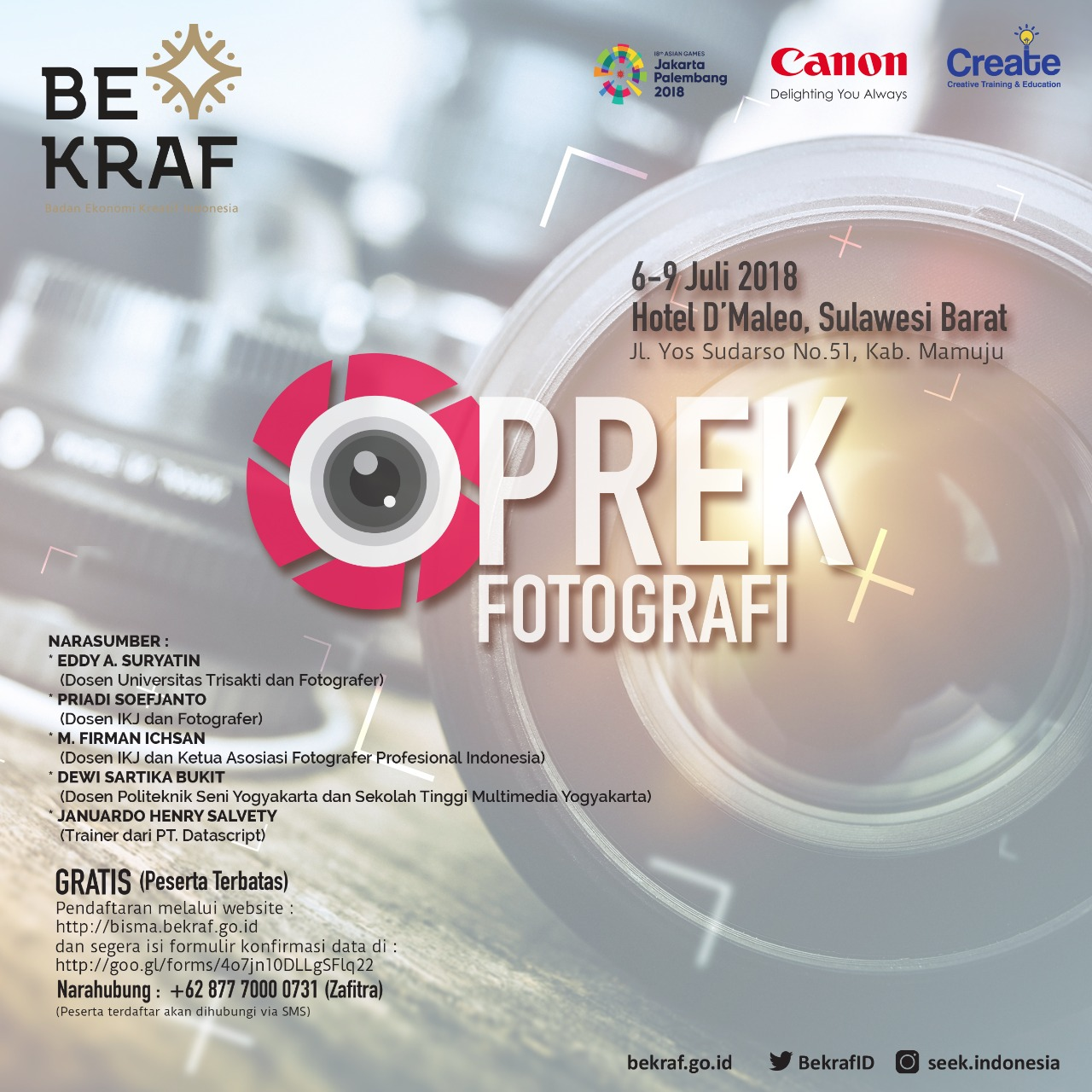Bekraf Gelar Workshop Fotografi Gratis